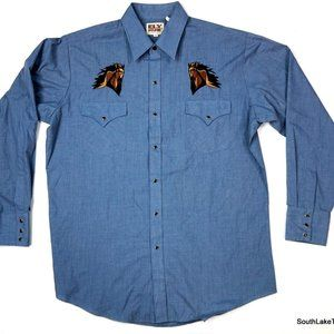 Ely Cattleman Western Horse Pearl Snap Shirt Large